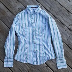 The Limited green striped button up blouse